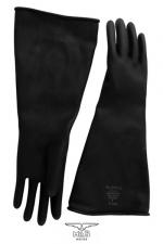 Gants type industriel en latex : Solide paire de gants noir en latex de caoutchouc pour un look industriel et les pratiques BDSM les plus extrêmes.