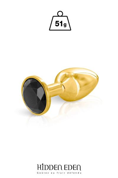 Plug bijou aluminium or et noir S - Hidden Eden
