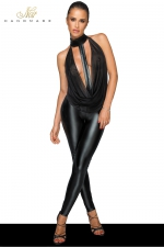 Combinaison choker F223 : Combinaison clubwear en wetlook et tulle, ouverte à l'entre-jambes grâce à un zip discret.